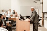 Guest lecturer Tom Perkins of Kleiner Perkins Caufield Byers