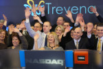 Maxine Gowen, WG'02, founder of Trevena, Inc., celebrates her company's IPO by ringing the bell at NASDAQ.