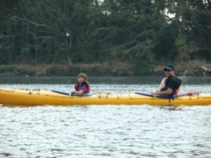 Steve Hernandez kayaking with his daughter