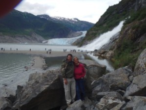 Steven Hernandez and his wife at Mendenhall Glacier in Alaska