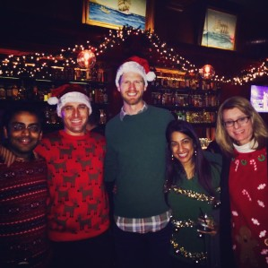Salima Remtulla with Wharton San Francisco students on ugly sweater day.