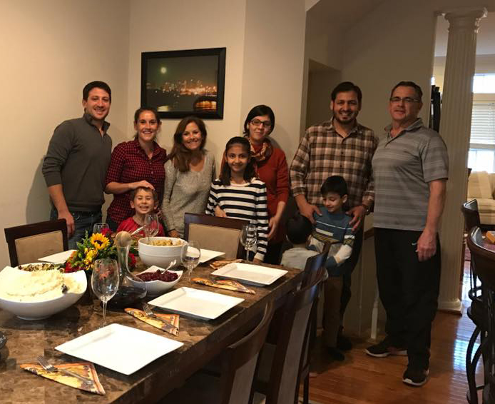 Sarah Feinberg with family and friends on Thanksgiving
