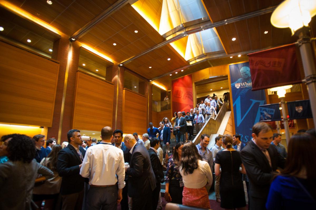 Group reception in Huntsman Hall Forum