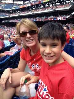 Peggy Bishop Lane and her son James at a Phillies game.